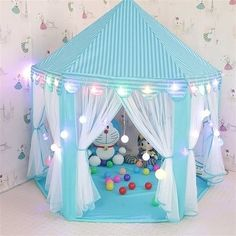 Tents for Girls, Princess Castle Play House for Child, Outdoor Indoor Portable Kids Children Play Tent for Girls Pink Birthday Gift (LED Star Lights) Image 1 of 4 Kids Tents, Teepee Kids, Led Star Lights, Buy Tent, Girls Playhouse, Girls Tent, Teepee Play Tent, Princess Castle, Pink Princess