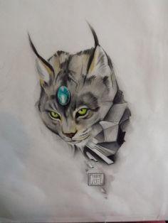 Geometric jewel lynx bobcat tattoo