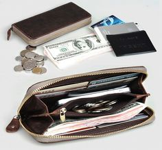 Handmade Antique Crazy Horse Leather Wallet / Checkbook Wallet / iPone 4 4s iPone 5 Purse