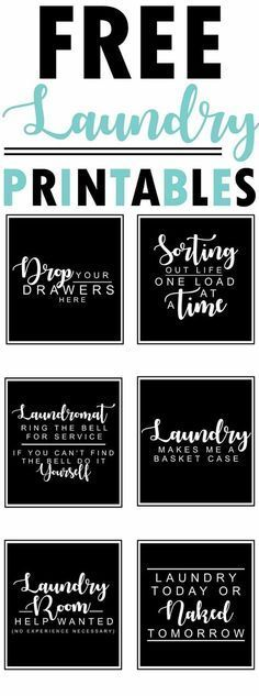 6 free farmhouse-style black and white laundry room printables with funny quotes and sayings - collection by craft-mart room art Free Farmhouse Printables Fixer-Upper Style Laundry Room Organization, Laundry Room Design, Laundry In Bathroom, Small Laundry, Laundry Closet, Bathroom Signs, Laundry Decor, Laundry Room Sayings, Laundry Art