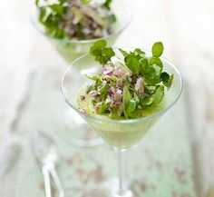 Asparagus mousse with ham & red onion salad ( I made the mousse to go with beef carpaccio + parmesan Ham Salad, Tomato Salad, Red Onion Salad Recipe, Mousse, Dinner Party Starters, Buffet, Bbc Good Food Recipes, Appetisers, Greek Recipes