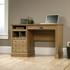 Sauder Barrister Lane 1-Drawer Desk - Scribed Oak - Traditional in inspiration but universal in appeal, the Sauder Barrister Lane 1-Drawer Desk – Scribed Oak features clean lines and versatile...