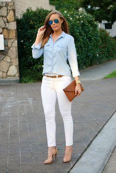 4ffe85083f2083 jcrew chambray shirt white jeans blue mirror rayban aviator sunglasses  leopard belt lauren slade fashion blogger style elixir rayban giveaway  sweepstakes