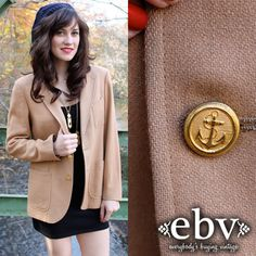 #Vintage 70's Fitted Camel Wool Nautical Fitted Blazer S/M/L by shopEBV