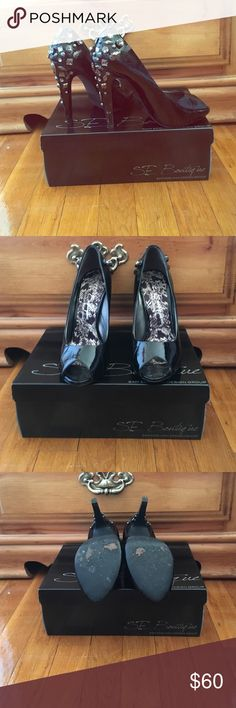 Sam Edelman peep toe pumps Beautiful jeweled pump pre loved. Very stylish and classy. They are very comfortable all the jewels are in place no scuffs or scratches. You'll love these so fabulous  Sam Edelman Shoes Heels