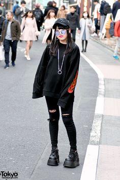 Harajuku Girl in Dark Street Style w/ Basic Cotton, a'gem, Demonia & Rasvoa