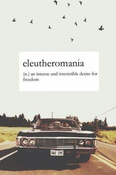 Eleutheromania (n.) An intense and irresistible desire for freedom