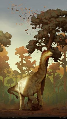 Artwork by Antonin Jury / This giant was a common animal in Late Jurassic North America. Its name is taken from the Greek word kamara, meaning vaulted chamber, which. Prehistoric Wildlife, Prehistoric Creatures, Dinosaur Art, Dinosaur Fossils, Dinosaur Funny, Reptiles, Mammals, Westerns, Cool Dinosaurs