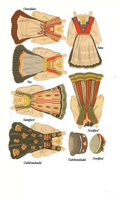 bunads of Norway - for papir dolls Folk Costume, Costumes, Paper Art, Paper Crafts, Up Book, Thinking Day, Vintage Paper Dolls, Paper Toys, Girl Scouts