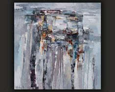 Gray Abstract Painting Rainy day Original oil painting on