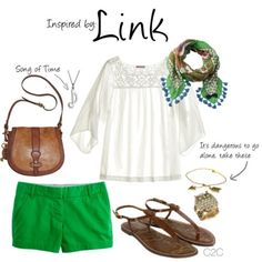Link (Legend of Zelda Series) by ladysnip3r featuring a chain necklace    Dum dum da, dum dum da…Sorry, just humming the song of time. Traveling through forests anytime soon? Well then, this outfit inspired by Link from Legend of Zelda will do you just fine.        Reference Image