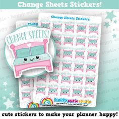 One sheet of 30 cute little change sheets bed stickers, perfect for your planner! • Stickers measure approx. 0.6 x 0.8 inches • Sticker sheet