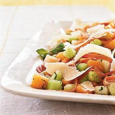 Easter Melon and Prosciutto Salad with Parmigiano-Reggiano | CookingLight.com