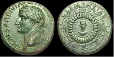 "Tiberius Caesar Divi Augusti ... son of the ""Divine Augustus."" Clementiae ... what does the word suggest?"