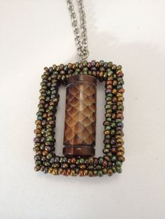 Nature Square Pendant and Chain by RoysterDesigns on Etsy, $27.00