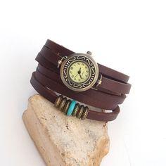 Leather Watch bracelet for women Antique bronze wrist by Jullyet, $36.00