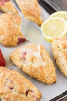 Lemon Cream Cheese Scones with Strawberries These scones are filled with fresh strawberries and zesty lemon to make the perfect spring breakfast. Cream cheese is cut into the batter with butter and… Strawberry Recipes Baking, Lemon Recipes, Baking Recipes, Scone Recipes, Buttermilk Recipes, Muffin Recipes, Bread Recipes, Breakfast And Brunch, Breakfast Recipes