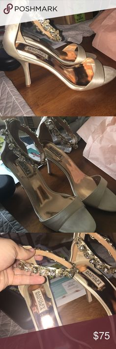 Badgley Mischka wedding heels Badgley Mischka jeweled ankles wedding heels. 2.5 inch heal. Gold/ivory in color with slight wear on bottom. Badgley Mischka Shoes Heels