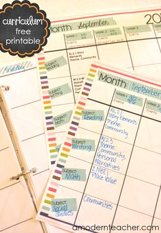 Free Printable {Monthly Curriculum Map} amodernteacher.com
