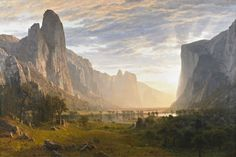 Looking Down Yosemite Valley, California is a Hudson River School Oil on Canvas Painting created by Albert Bierstadt in It lives at the Birmingham Museum and Art Gallery in England. The image is in the Public Domain, and tagged Landscape and Mountains. Albert Bierstadt, California Dates, California Art, California Camping, Landscape Art, Landscape Paintings, Landscape Photography, Western Landscape, Fine Art