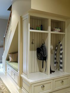 Under-Stair Storage Space Solutions: Shelves and Drawers Under Stairs . Too bad I have basement stairs under my stairs in this house! Small Space Living, Small Spaces, Style At Home, Basement Inspiration, Room Inspiration, Design Case, Basement Remodeling, Remodeling Ideas, Basement Flooring