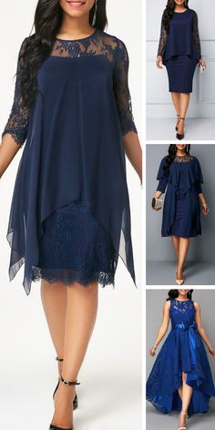Chiffon Overlay Navy Three Quarter Sleeve Lace It's a unique find that's perfect for the office party, a night at the theater or any special occasion this holiday season. Pretty Dresses, Beautiful Dresses, Fall Dresses, Long Dresses, Prom Dresses, Formal Dresses, Blue Dresses For Women, Lace Dress, Dress Up