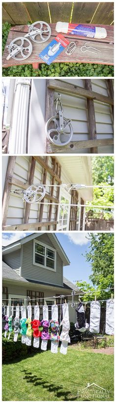 Learn how to make a DIY pulley clothesline with a line tightener and clothesline spreaders to keep the line from sagging