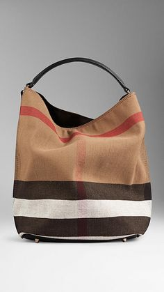 c9107adbd31 Black Medium Canvas Check Hobo Bag from Burberry - Jute cotton hobo bag in Canvas  check