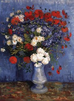 Van Gogh, Vase with Cornflowers and Poppies, Summer 1887. Oil on canvas, 80 x 67 cm. Private collection.