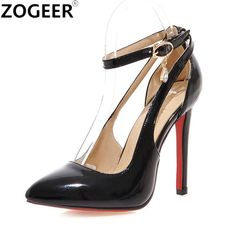 32401666fb74 Plus Size Sexy High Heels Shoes Women Pumps Sweet Luxury Black Red Pink Wedding  Shoes Ankle strap Pumps Sapatos Femininos