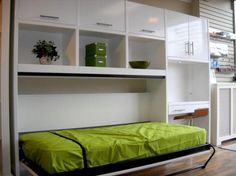 Elegant White Side Modular Shelving Unit And Storage Cabinet Also Hidden Bed Design Suitable For Small Apartment Bedroom Ideas A couple Worthy Models of Hidden Bed Ideas Bedroom design