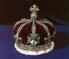 Queen Alexandra's Crown, 1902.  The Koh-i-Noor diamond was set into Queen Alexandra's coronation crown, which also has 3,687 diamonds.  It is said that Queen Alexandra chose the design of the crown which has eight half-arches in the continental tradition.  According to legend, the Koh-i-Noor will bring bad luck to any male wearer and thus has been worn only by women since it came to Britain.   Royal Collection Trust.