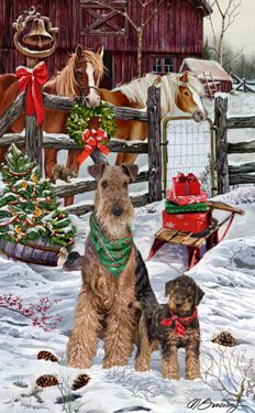 --Airedale Terrier - Christmas Friends
