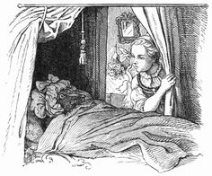 The wolf adopts the identity of Red Riding Hood's grandmother by dressing in her bedclothes. Fairy Tale Images, Brothers Grimm Fairy Tales, Wolf, Sketch Journal, Ludwig, Red Hood, Red Riding Hood, Little Red, Line Drawing