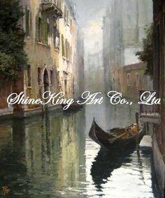 Aliexpress.com: Comprar Hechos a mano la venecia pintura al óleo sobre canvans pintura de bellas artes VEN1053 50 x 60 cm de la pintura azul fiable proveedores en ShineKing Art