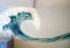 If they had this wall mural when I was decorating a beach condo a few years ago, this would definitely have been part of the modern beach decor. Mural Painting, Painting & Drawing, Wave Paintings, Wave Drawing, Beach Paintings, Ocean Wave Painting, Basement Painting, Watercolor Wave, House Painting