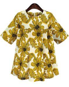 Half Sleeve Sunflower Print Shift Yellow Dress- Romwe