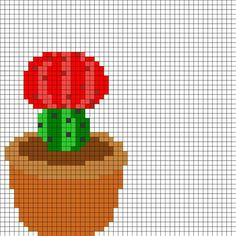 Red Flowering Cactus by Airattackkid on Kandi Patterns Cactus Cross Stitch, Tiny Cross Stitch, Xmas Cross Stitch, Modern Cross Stitch, Cross Stitch Designs, Cross Stitching, Cross Stitch Embroidery, Cross Stitch Patterns, Kandi Patterns