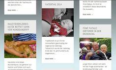 Es ist ein screenshot, der eine bunte Ansammlung von Themen zeigt, die im Blog behandelt werden. Baby, Rescue Cats, Ascension Of Jesus, Father's Day, Parenting, Kids, Baby Humor, Infant, Babies