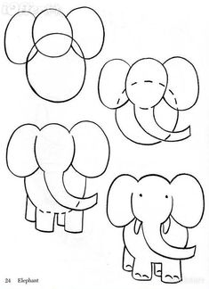 Pix For > Elephant Drawing For Kids Step By Step