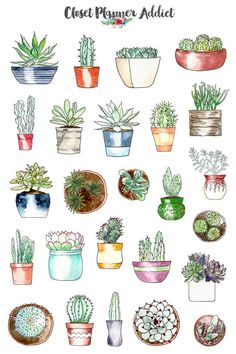 A collection of beautifully illustrated watercolour potted succulents and cactus planner stickers for your planner! These stickers are designed to fit any planners, journals and notebooks and come ready to be used.