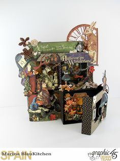 Dimensional Boxes Halloween in Wonderland Tutorial by Marina Blaukitchen Product by Graphic 45 Graphic 45, Magic Of Oz, Alice Book, Halloween Crafts, Halloween Designs, Photo Boxes, Altered Boxes, Craft Box, Little Boxes