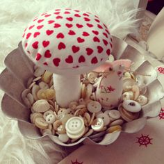 toadstools and mice in vintage buttons