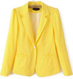 Yellow Notch Lapel Long Sleeve Fitted Blazer