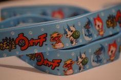 Yo-Kai Watch Ribbon, 5 yards, 7/8 inch wide, Hair bow ribbon, Scrapbook ribbon, Grosgrain ribbon by LusterClusterHairbow on Etsy