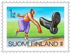 Itellan postimerkeissä esitellään suomalaisia kilpailulajeja, kuten saappaanheittoa. Postage Stamp Art, Helsinki, Norway, Sweden, Nostalgia, Posters, Stamps, Historia, Finland