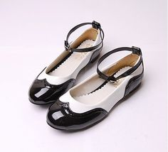 Mary Janes Saddle Oxford Style Women's Shoes faux Patent Leather Vintage Inspired Flats.