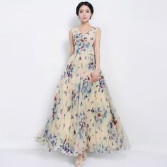 Elegant Style V-Neck Tight Waist Maxi Chiffon Dress click the pic to see it in green.