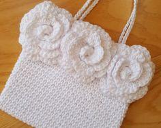 Crochet pattern Triple Rose Handbag bag PDF patt no27 uk and us terms girls purse first holy communion bridal wedding flowergirl classic