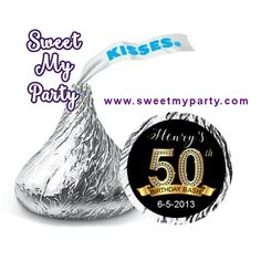 50th 60th 40th 30th Birthday Hershey Kisses Stickers, personalized Birthday Hershey stickers
